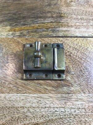 Brass Cabinet Latch With Keeper Antique Collectible Hardware