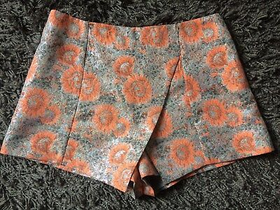 Topshop Shorts/Skirt - Wrap Over Front, Embroidered fabric, Evening Wear Size 10