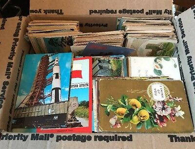 Large Mixed Lot Of 1000+ Antique And Vintage Postcards 1900s-1970s.