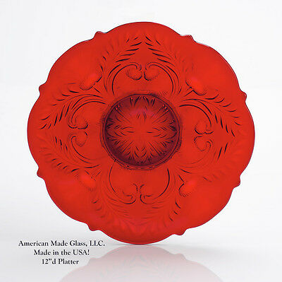 Red Glass Inverted Thistle Pattern Large Platter - Mosser USA