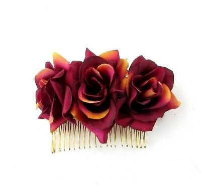 Burgundy Wine Deep Red Rose Flower Hair Comb Bridesmaid Fascinator Bridal 5262