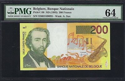 Belgium ND (1995) P-148 PMG Choice UNC 64 200 Francs
