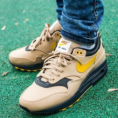 4a36cee586 Nike Air Max 1 Premium 93 Logo Elemental Gold Sneakers Men's Lifestyle Shoes