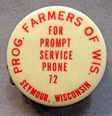 c. 1947 PROGRESSIVE FARMERS OF WISCONSIN Seymour celluloid tape measure