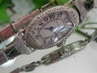 1930's Ladies Art Deco 14K Waltham Watch  ~ Sapphire Filigree Band ~ Runs