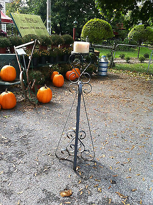 vtg cast iron candle holder Gothic Medievel Ex-LARGE standing scroll work NICE!!