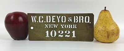 Antique Brass Crate Stencil - W. C. Deyo & Bros Fruit & Produce Sellers NY 10221