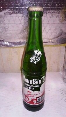 FULL  RARE 1955 MOUNTAIN DEW by CHARLIE- JIM and BILL BOTTLE ~ TRI CITY BEVERAGE