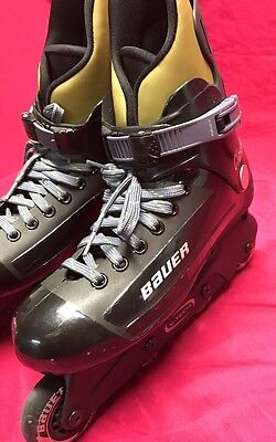 Bauer Classic Inline Hockey Skates Anti Vibration BLACK Mens Sz 8 Ladies Sz 10