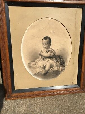 early 19th C. print picture of Napoleon's son in walnut frame,27""