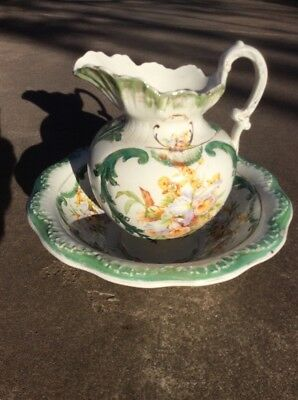 "Large Antique French painted porcelain handled 14&3/4"" Pitcher and bowl"