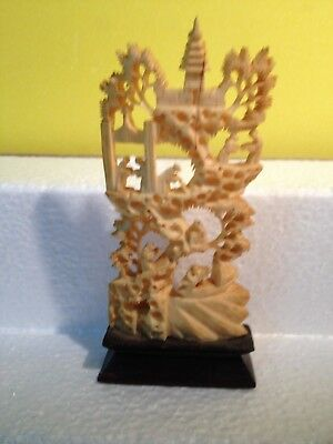 Beautiful Bone / Wood Carving of Oriental Design of a Palace and Tree