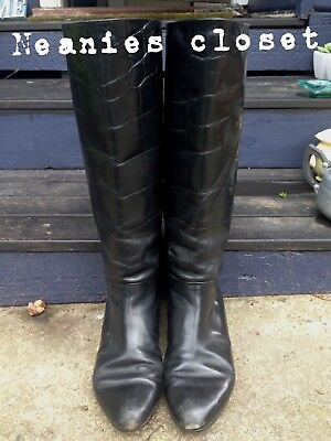 Vintage Black Leather Boots Crocodile Look Leather So Comfy Bargain Price