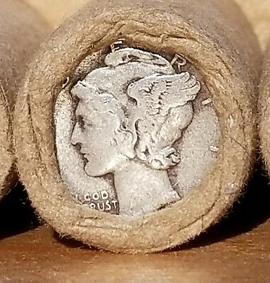 Unsearched 25 cent penny roll MERCURY DIME / INDIAN HEAD show F