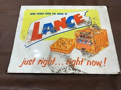 Rare Original Lance Cracker Sign for Jar Stand 16.5 in x 21.5 in