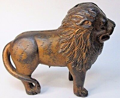 "1920's STANDING LION large 7"" cast iron still bank A.C. Williams ORIGINAL *"