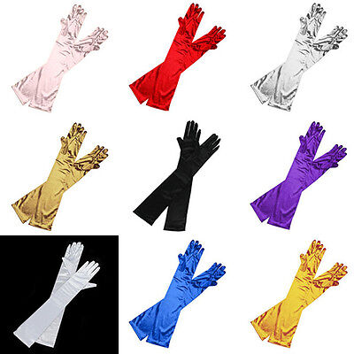 "Ladies Long 22"" Opera Evening Finger Gloves Satin Charleston Party Dress Prom"