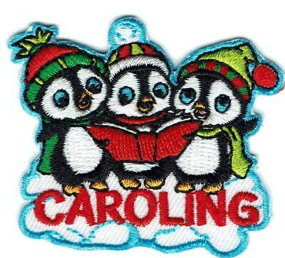 Girl Boy Christmas CAROLING Penguins Fun Patches Crest Badge SCOUT GUIDE Carol