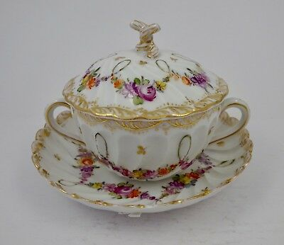 Antique Dresden Covered Soup Cup & Saucer