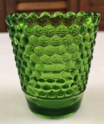 "Green Hobnail Glass Candle Holder Cup Votive 2 3/4"" Bottom Circles Tealight Taiw"