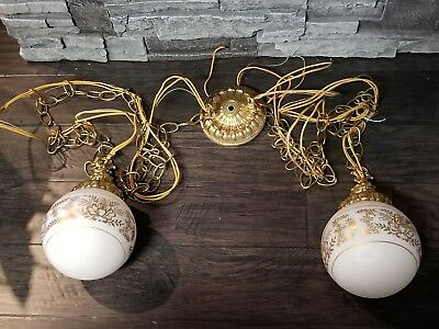 Vtg Gold Brass Double Hanging Swag Bathroom Vanity Lamp Light Mid Century Modern