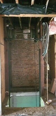 Otis Antique freight Elevator hand pulled counter weighted