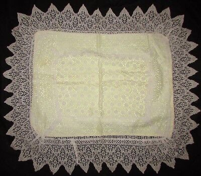 Lace Pillowcover With Yellow Rayon Back, Rose Pattern
