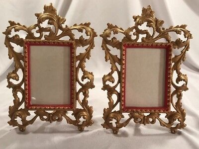 Antique VTG Picture Photo Frame Cast Iron Ornate Rococo style set Pair 3.5x5 old