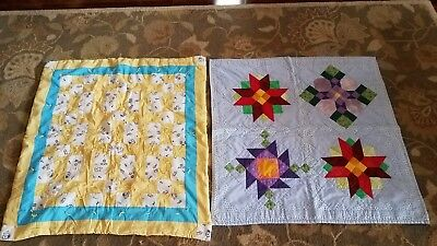 Baby/todler unisex quilts 35x35in cotton-lot of 2-blue and yellow