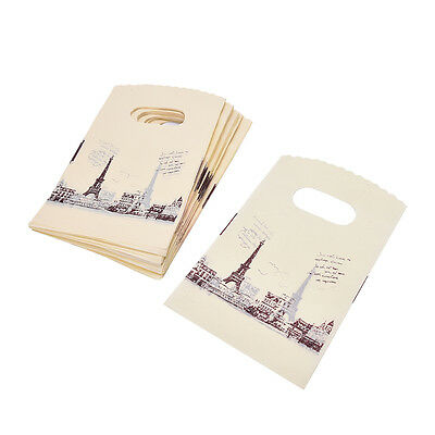 100pcs Yellow Eiffel Tower Packaging Bags Plastic Shopping Bags With Handle H&T