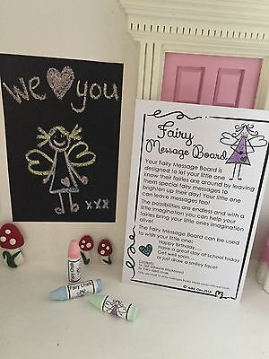 Fairy Door Accessories - Miniature Fairy Message Board (1x board / 3x chalk)