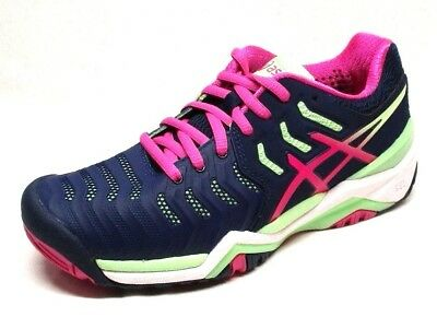 Asics Women's Gel-Resolution 7 Tennis Shoe, Indigo Blue/Pink Glow/Paradise Green