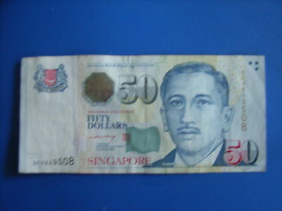 Singapore $50 Dollar Note Circulated s/n 2FV849508