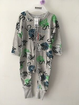 Bonds Baby Zip Wondersuit/babygrow Nwt Grey Leopard All Sizes