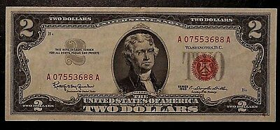Series 1963 Red Seal $2 Bill, WASHINGTON D.C. UNITED STATES A 07553688 A
