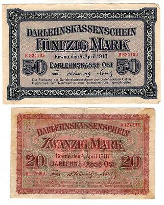 50 & 20  Mark Kowno Ost 1918 Germany German Ww I Original Antique Banknotes