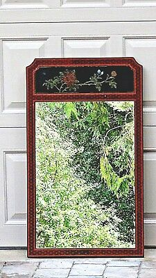 Antique Chinese Wood Lacquered Painted Flowers Frame Mirror