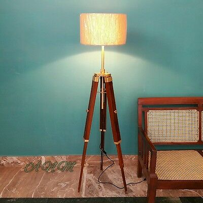 Floor Lamp Tripod Modern Red Wood Lampshade Tripod Stand Collectible