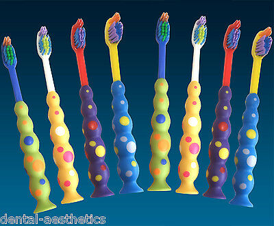 Childrens Toothbrushes (Set of 8) Sucker Base Brushes for Kids Teeth, 3 years +