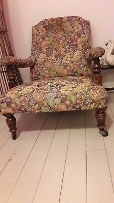 long seated Victorian armchair floral upholstered