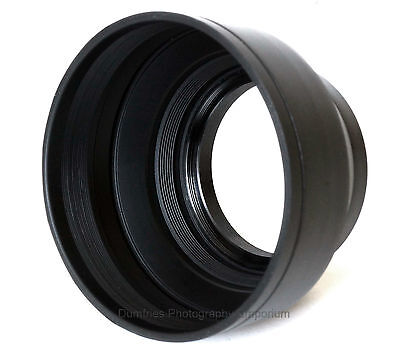 49mm Collapsible Rubber Lens Hood. Universal: Fits any lens w/49mm filter thread