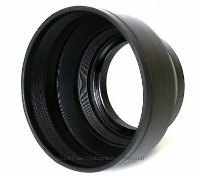 62mm Collapsible Rubber Lens Hood. Universal: Fits any lens w/62mm filter thread