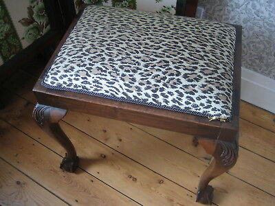 Antique Mahogany Stool, Upholstered using House of Hackney Leopard Print Fabric
