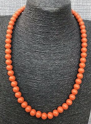 vintage retro jewellery orange Lucite early plastic funky beads necklace 60s 70s