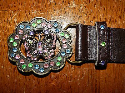 Girl's Rhinestone Butterfly Brown Leather Belt Size 8
