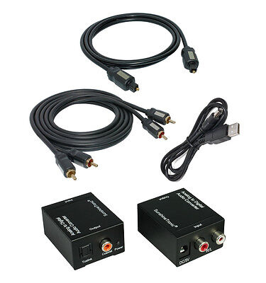 Analogue to Digital Audio Converter+0,7m Toslink+2,5m Cinch Cabel + USB Cable