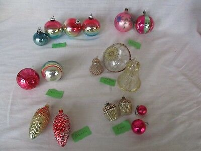 lot of 17  Vintage International Mix Mica Mercury Glass Xmas Tree Ornament Set