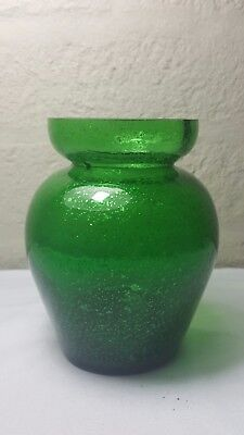 Late Victorian glass silver leaf or mica green hyacinth vase.