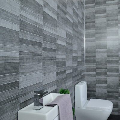 Grey Tile Effect Bathroom Panels Anthracite Tile Cladding Shower Wet Wall  PVC