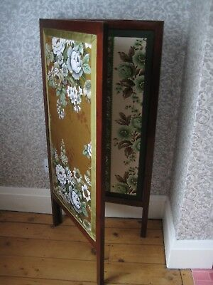 Edwardian Mahogany Dressing Screen, Upholstered Using Vintage Floral Fabrics
